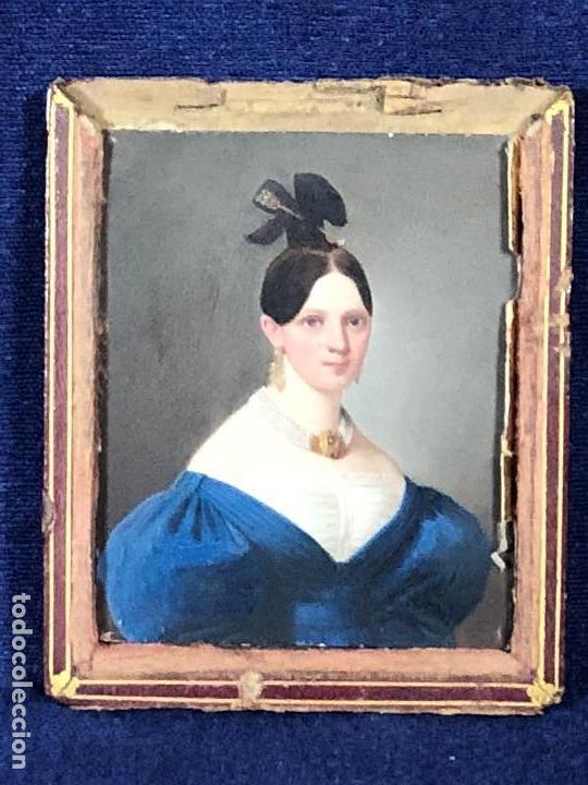 Kunst: miniatura ferrotipo pintado joven con peinado flecha ave perlas estuche origen no firma calidad 8x7c - Foto 2 - 126805419