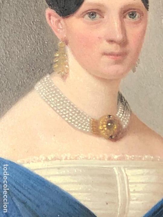 Kunst: miniatura ferrotipo pintado joven con peinado flecha ave perlas estuche origen no firma calidad 8x7c - Foto 5 - 126805419