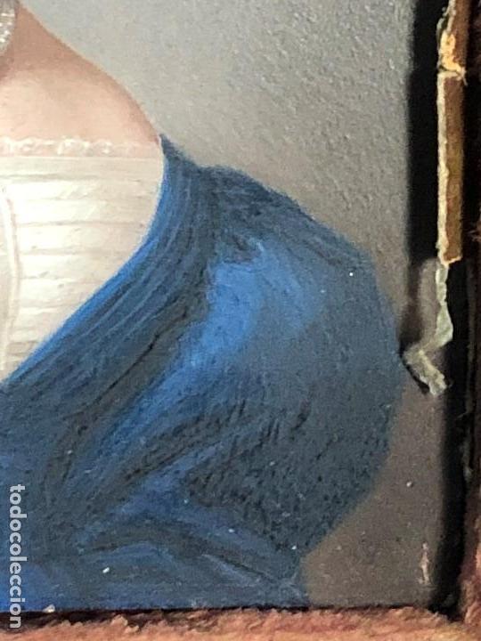 Kunst: miniatura ferrotipo pintado joven con peinado flecha ave perlas estuche origen no firma calidad 8x7c - Foto 18 - 126805419