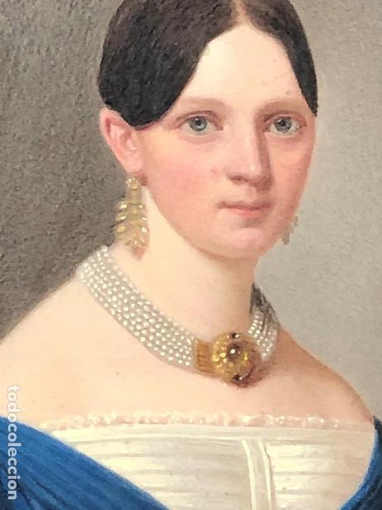 Kunst: miniatura ferrotipo pintado joven con peinado flecha ave perlas estuche origen no firma calidad 8x7c - Foto 24 - 126805419