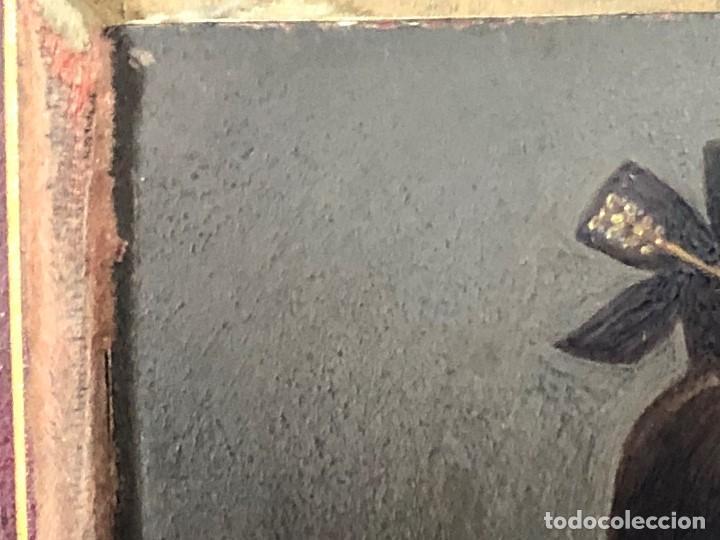 Kunst: miniatura ferrotipo pintado joven con peinado flecha ave perlas estuche origen no firma calidad 8x7c - Foto 29 - 126805419
