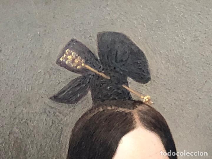 Kunst: miniatura ferrotipo pintado joven con peinado flecha ave perlas estuche origen no firma calidad 8x7c - Foto 30 - 126805419