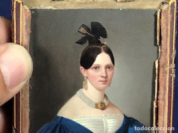 Kunst: miniatura ferrotipo pintado joven con peinado flecha ave perlas estuche origen no firma calidad 8x7c - Foto 38 - 126805419