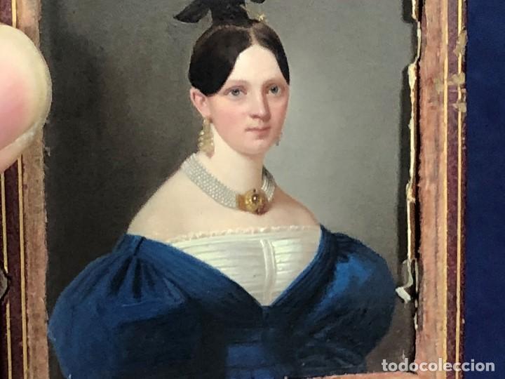 Kunst: miniatura ferrotipo pintado joven con peinado flecha ave perlas estuche origen no firma calidad 8x7c - Foto 39 - 126805419