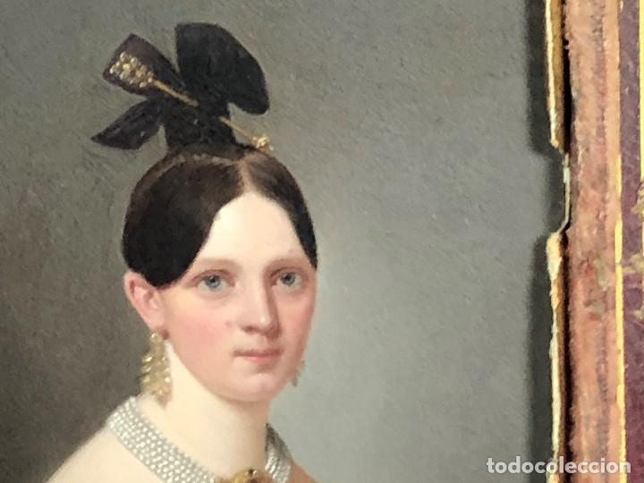 Kunst: miniatura ferrotipo pintado joven con peinado flecha ave perlas estuche origen no firma calidad 8x7c - Foto 40 - 126805419