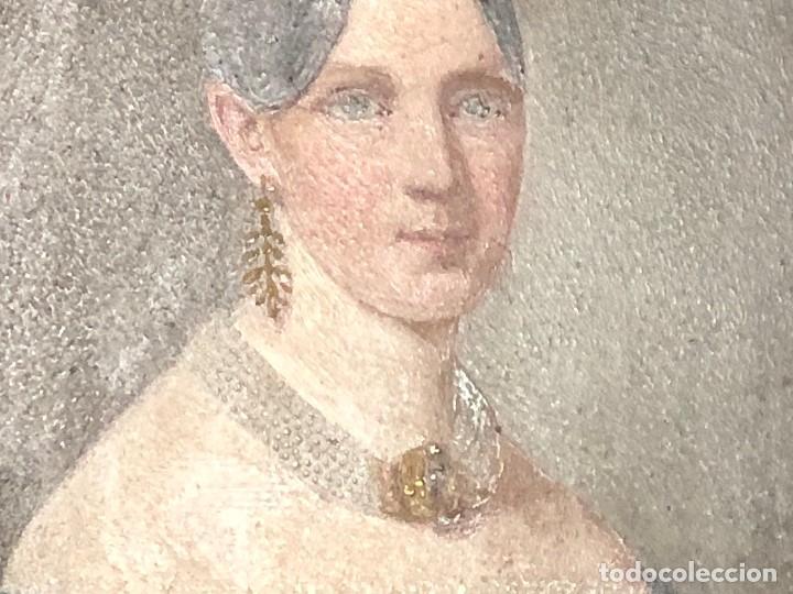 Kunst: miniatura ferrotipo pintado joven con peinado flecha ave perlas estuche origen no firma calidad 8x7c - Foto 42 - 126805419
