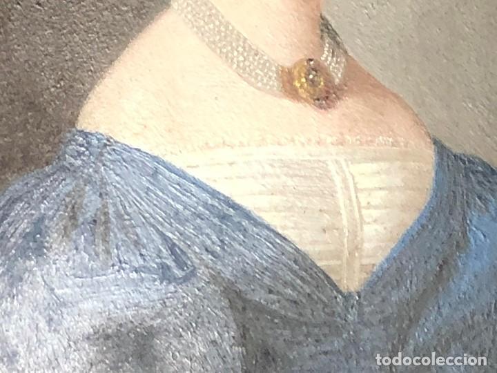 Kunst: miniatura ferrotipo pintado joven con peinado flecha ave perlas estuche origen no firma calidad 8x7c - Foto 43 - 126805419