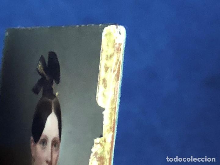 Kunst: miniatura ferrotipo pintado joven con peinado flecha ave perlas estuche origen no firma calidad 8x7c - Foto 50 - 126805419