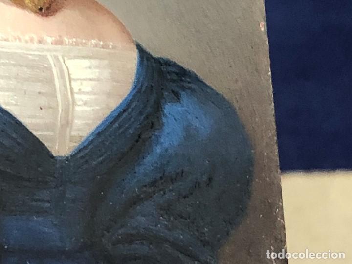 Kunst: miniatura ferrotipo pintado joven con peinado flecha ave perlas estuche origen no firma calidad 8x7c - Foto 56 - 126805419