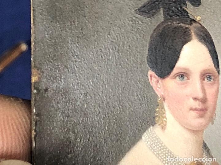 Kunst: miniatura ferrotipo pintado joven con peinado flecha ave perlas estuche origen no firma calidad 8x7c - Foto 58 - 126805419