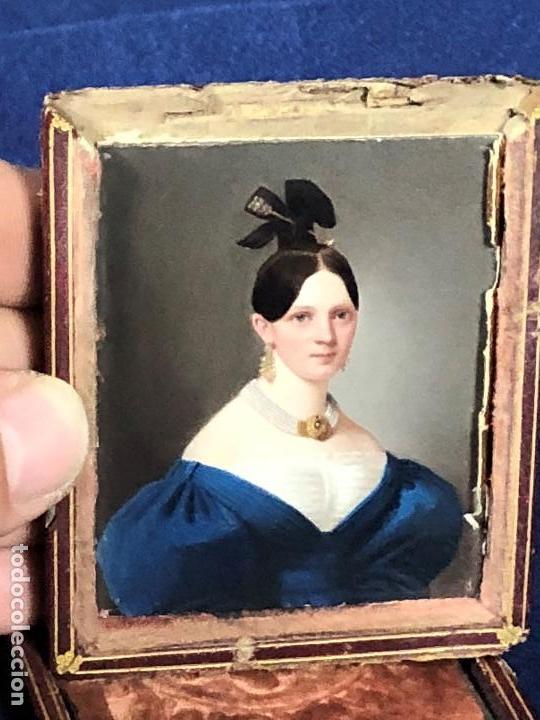Kunst: miniatura ferrotipo pintado joven con peinado flecha ave perlas estuche origen no firma calidad 8x7c - Foto 60 - 126805419