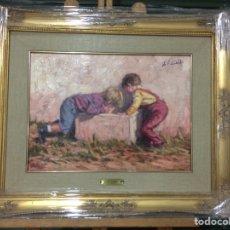 Arte: JOSÉ LULL, NIÑOS JUGANDO, 40 CM X 29 CM MÁS MARCO, ÓLEO SOBRE TABLA. Lote 126826646