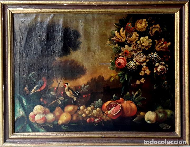 BODEGÓN. ÓLEO SOBRE TELA. ANÓNIMO. ESCUELA ESPAÑOLA. SIGLO XIX. (Arte - Pintura - Pintura al Óleo Moderna siglo XIX)