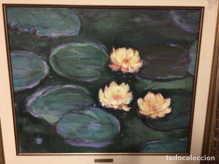 Arte: Nenúfares y flores, 45x37cm más marco, oleo sobre lienzo - Foto 2 - 127009027