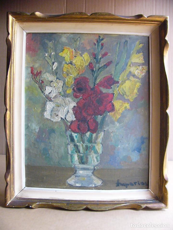 CUADRO PINTURA AL OLEO IMPRESIONISTA - BODEGON JARRON CON FLORES - FIRMADO Y CON MARCO (Arte - Pintura - Pintura al Óleo Contemporánea )
