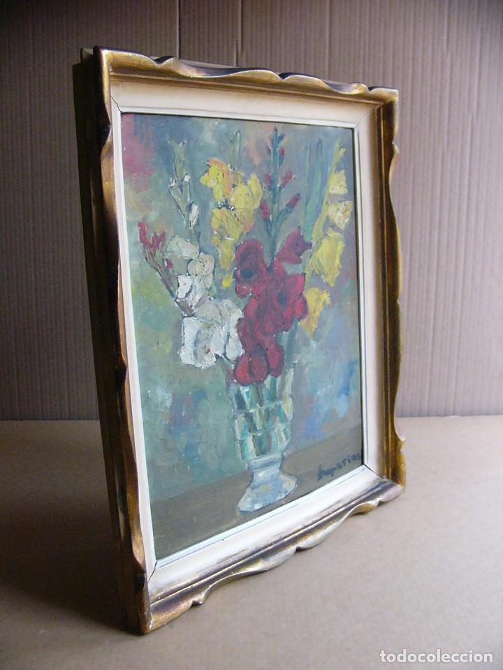 Arte: Cuadro pintura al oleo impresionista - Bodegon jarron con flores - Firmado y con marco - Foto 2 - 127024539