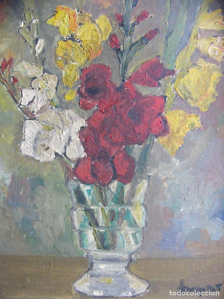 Arte: Cuadro pintura al oleo impresionista - Bodegon jarron con flores - Firmado y con marco - Foto 3 - 127024539