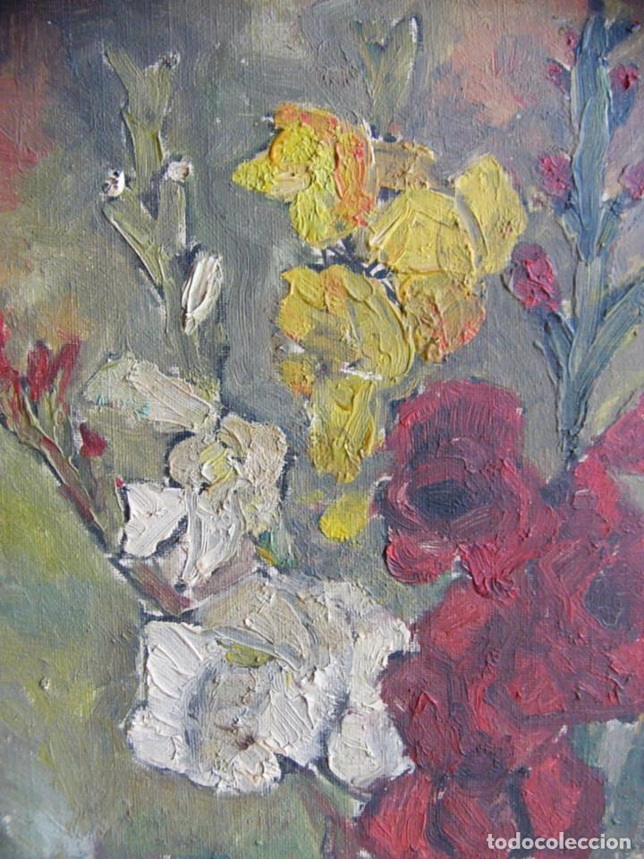 Arte: Cuadro pintura al oleo impresionista - Bodegon jarron con flores - Firmado y con marco - Foto 4 - 127024539