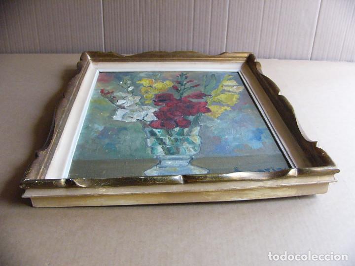 Arte: Cuadro pintura al oleo impresionista - Bodegon jarron con flores - Firmado y con marco - Foto 6 - 127024539