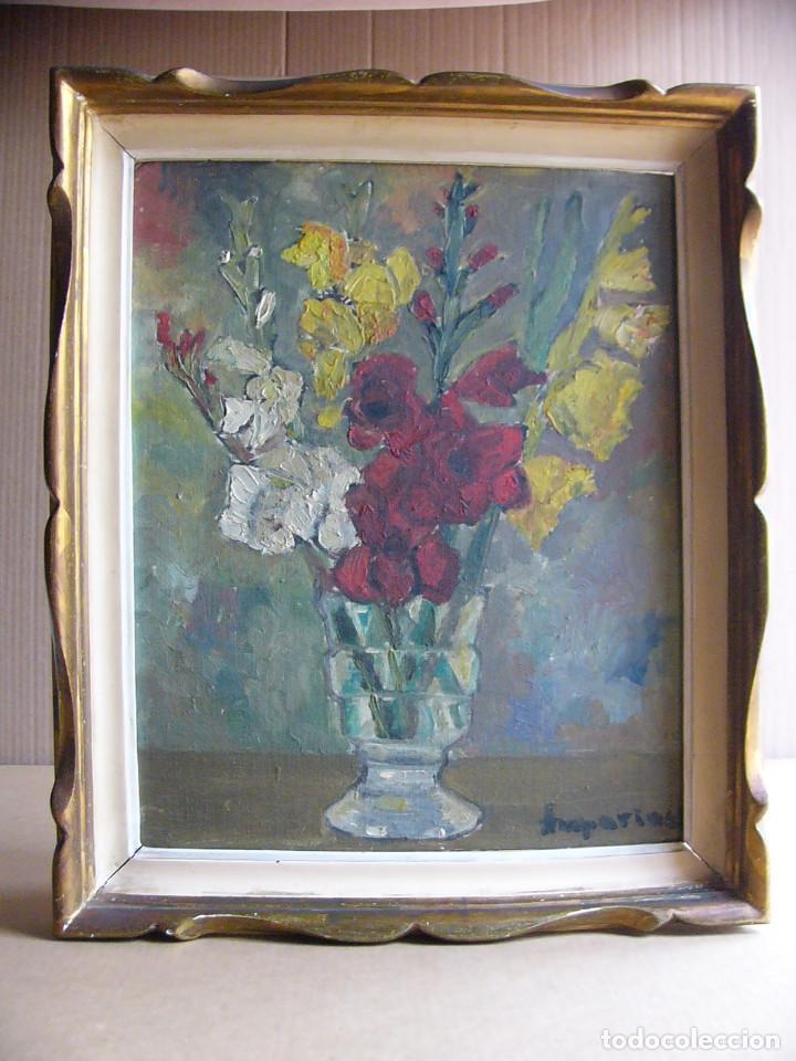 Arte: Cuadro pintura al oleo impresionista - Bodegon jarron con flores - Firmado y con marco - Foto 8 - 127024539