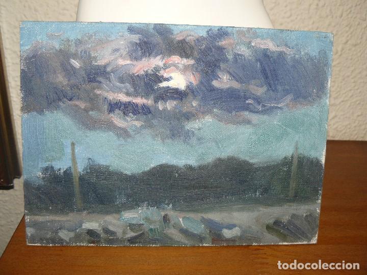 ÓLEO SOBRE TABLEX-ANÓNIMO-PAISAJE CREPUSCULAR (Arte - Pintura - Pintura al Óleo Antigua sin fecha definida)