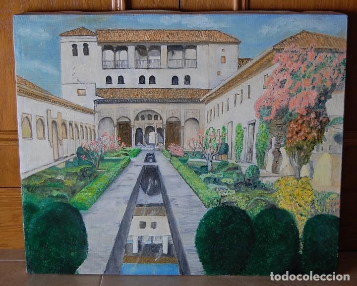 PATIO DE LA ACEQUIA, ALHAMBRA DE GRANADA - PINTURA ORIGINAL (Arte - Pintura - Pintura al Óleo Moderna sin fecha definida)