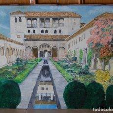 Arte: PATIO DE LA ACEQUIA, ALHAMBRA DE GRANADA - PINTURA ORIGINAL. Lote 127234627