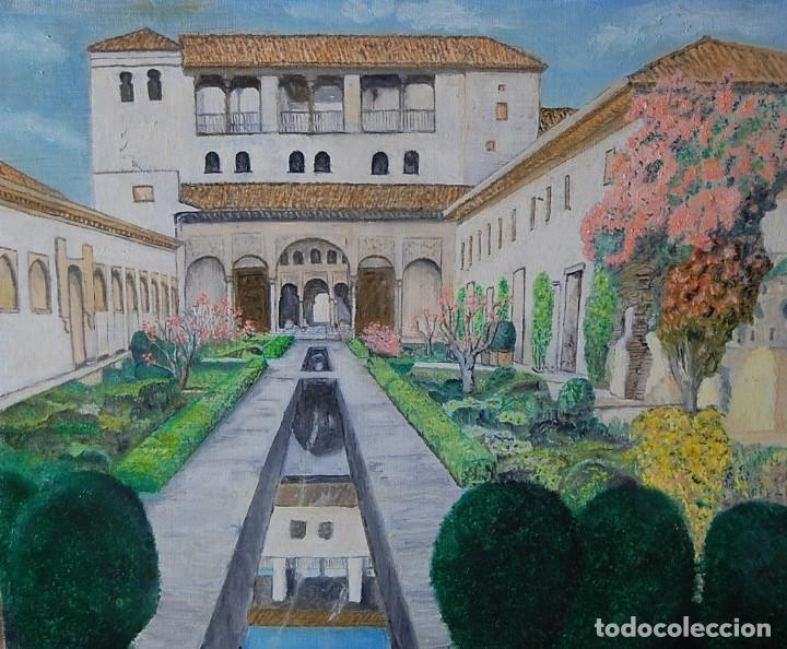 Arte: Patio de la Acequia, Alhambra de Granada - Pintura Original - Foto 2 - 127234627