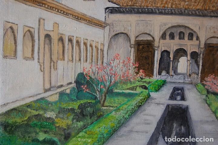 Arte: Patio de la Acequia, Alhambra de Granada - Pintura Original - Foto 5 - 127234627