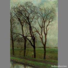 Arte: KREEL DAAMEN (HOLANDÉS 1916-1993). UN DÍA LLUVIOSO/ A RAINY DAY. ÓLEO SOBRE TABLA CONTRACHAPADA. 79X. Lote 127237722