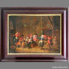 Arte: ESTILO DE GILLIS VAN TILBORGH. SIGLO XVII/XVIII. ESCENA DE TARBERNA/ TAVERN SCENE. ÓLEO SOBRE LIENZO. Lote 127237734