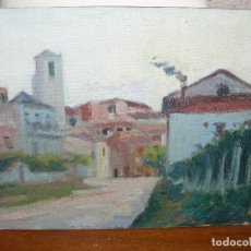 Arte: ÓLEO SOBRE TABLEX- ANÓNIMO- PAISAJE URBANO. Lote 127283891