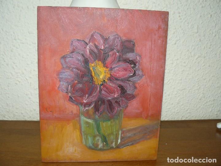 ÓLEO SOBRE TABLEX- ANÓNIMO- FLOR (Arte - Pintura - Pintura al Óleo Antigua sin fecha definida)
