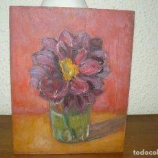 Arte: ÓLEO SOBRE TABLEX- ANÓNIMO- FLOR. Lote 127340639