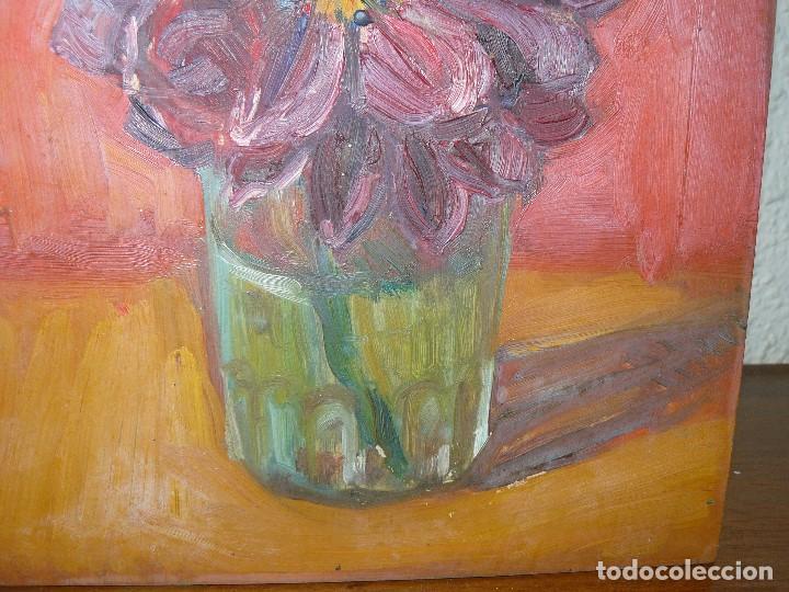 Arte: ÓLEO SOBRE TABLEX- ANÓNIMO- FLOR - Foto 2 - 127340639
