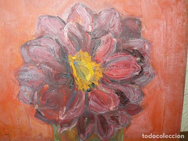 Arte: ÓLEO SOBRE TABLEX- ANÓNIMO- FLOR - Foto 3 - 127340639