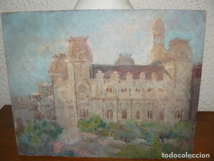 ÓLEO SOBRE CARTÓN-ANÓNIMO-CASA PALACIEGA (Arte - Pintura - Pintura al Óleo Antigua sin fecha definida)