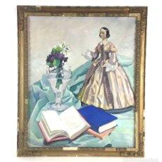 Arte: BODEGÓN CON MUÑECA Y LIBROS. ÓLEO SOBRE TELA. LOLA ANGLADA. CIRCA 1930.. Lote 113828239
