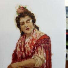 Arte: OLEO SOBRE CRISTAL, RETRATO GITANA, BUENA CALIDAD, CON ALGUNAS FALTAS (VER FOTOS) ANÓNIMO.. Lote 127578610