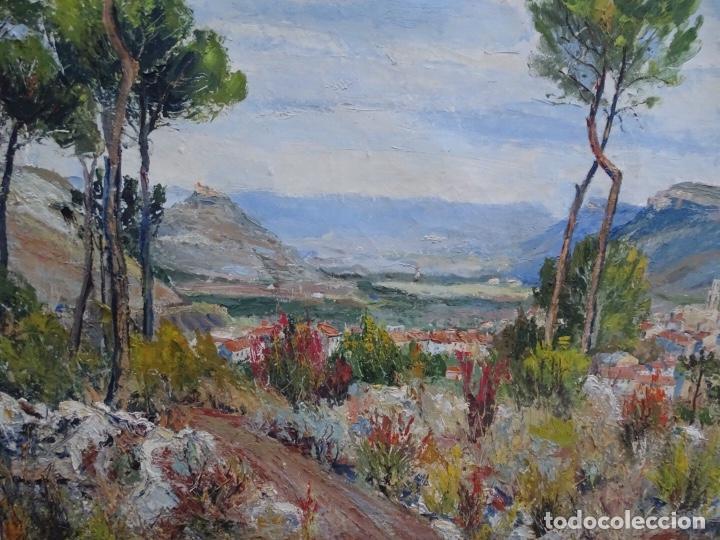 Arte: Gran óleo sobre tela J. Campoy.Paisaje de capellades. - Foto 2 - 127796147