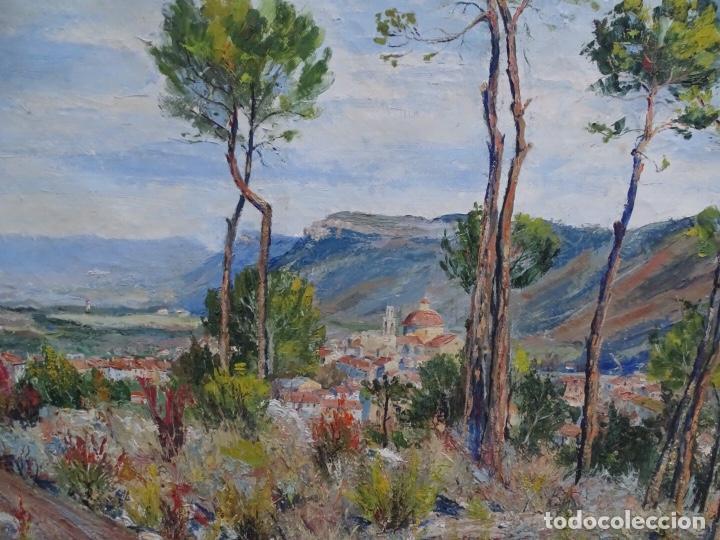 Arte: Gran óleo sobre tela J. Campoy.Paisaje de capellades. - Foto 3 - 127796147