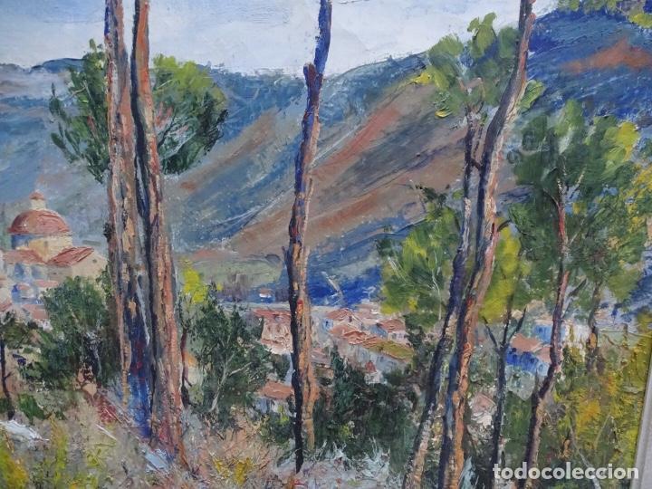 Arte: Gran óleo sobre tela J. Campoy.Paisaje de capellades. - Foto 4 - 127796147