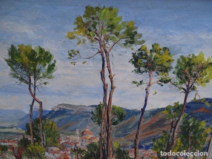 Arte: Gran óleo sobre tela J. Campoy.Paisaje de capellades. - Foto 5 - 127796147