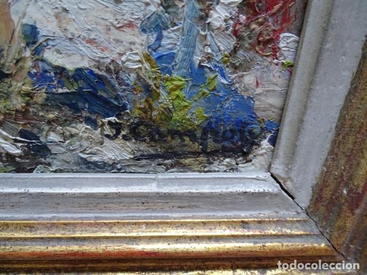 Arte: Gran óleo sobre tela J. Campoy.Paisaje de capellades. - Foto 6 - 127796147