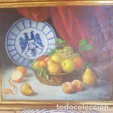 Arte: BODEGON AL OLEO SOBRE LIENZO CON PLATO CERAMICA DE TALAVERA FIRMADO F. CAMPOS AÑO 65. Lote 127858419
