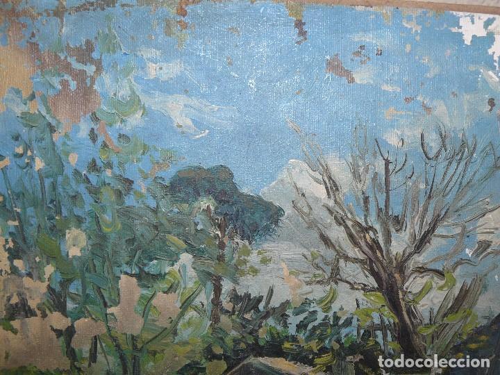 Arte: oleo sobre carton - anónimo - Firmado en el reverso ilegible - casa en el bosque - Foto 3 - 127867851