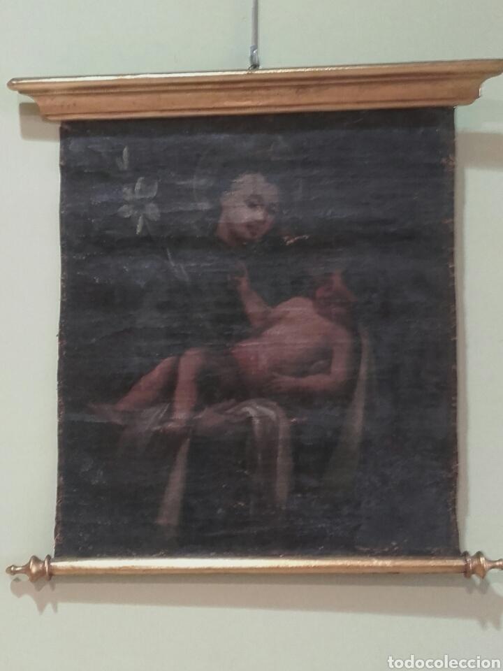 SAN ANTONIO CON EL NIÑO, SIGLO XVIII, OLEO/LIENZO. PEQUEÑAS FALTAS EN LA PINTURA (Arte - Pintura - Pintura al Óleo Antigua siglo XVIII)