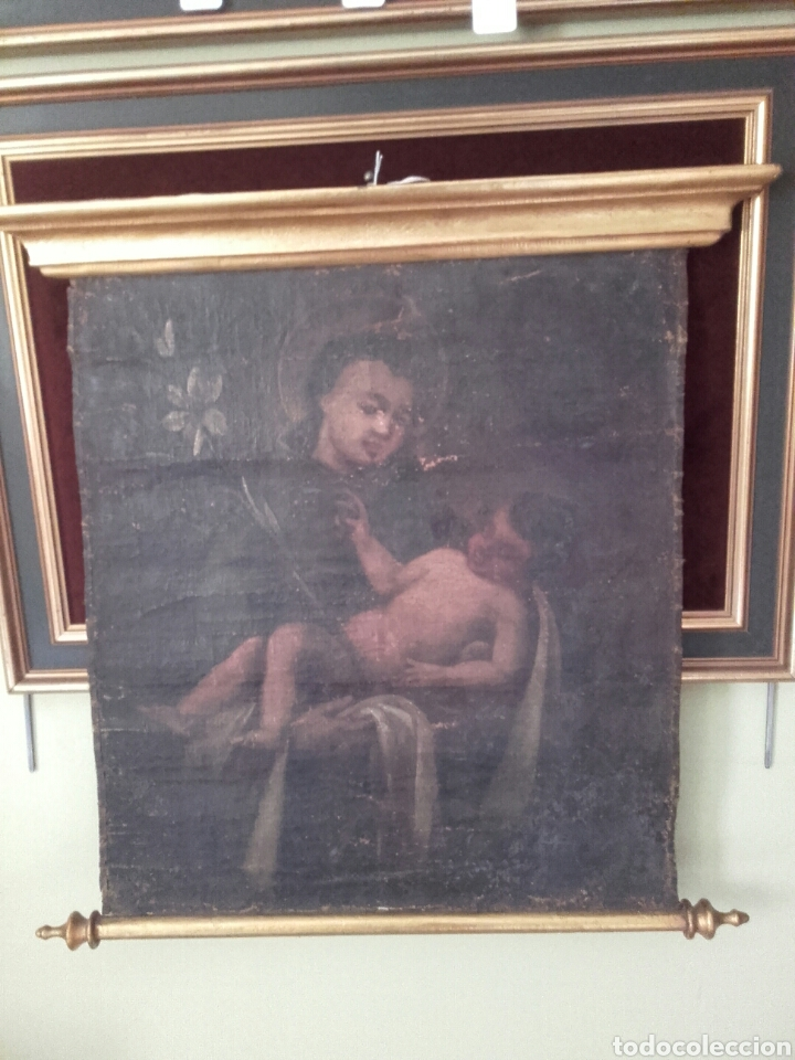 Arte: SAN ANTONIO CON EL NIÑO, SIGLO XVIII, OLEO/LIENZO. PEQUEÑAS FALTAS EN LA PINTURA - Foto 2 - 127919628