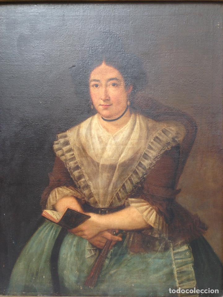 Arte: Retrato de dama oleo sobre lienzo siglo XVIII - Foto 3 - 127923995