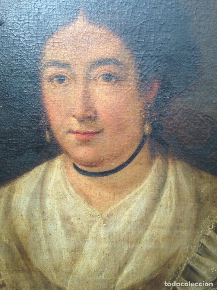 Arte: Retrato de dama oleo sobre lienzo siglo XVIII - Foto 4 - 127923995